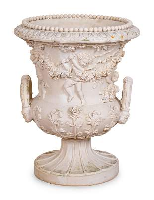 A Neoclassical Style Cast Resin Campana-Form Urn Height