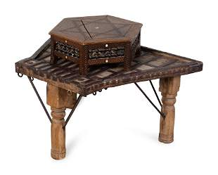 An Indian Metal Bound Tripod Table and a Carved and