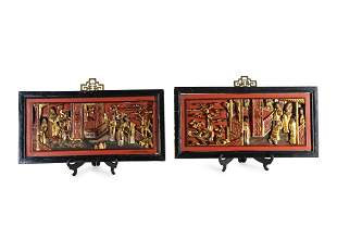 A Pair of Chinese Carved Red and Gilt Lacquer Framed
