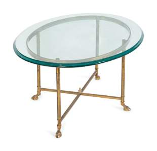 A Contemporary Brass and Glass Oval Coffee Table