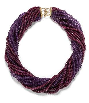RUBY AND AMETHYST TORSADE NECKLACE