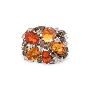 FIRE OPAL, COLORED DIAMOND AND DIAMOND RING