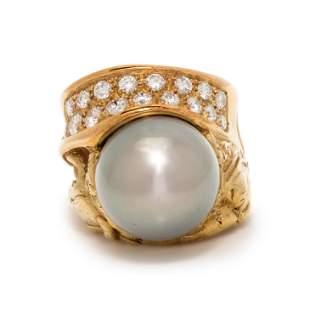 MISANI, CULTURED TAHITIAN PEARL AND DIAMOND RING