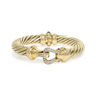 DAVID YURMAN, YELLOW GOLD, DIAMOND AND GEMSTONE 'CABLE