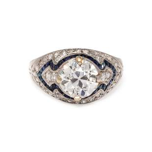 ART DECO, DIAMOND AND SYNTHETIC SAPPHIRE RING