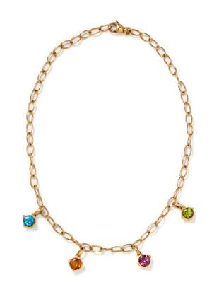 YELLOW GOLD AND MULTIGEM PENDANT/NECKLACE