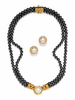 HEMATITE AND CULTURED MABE PEARL SET
