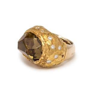 MISANI, SMOKY QUARTZ AND DIAMOND RING