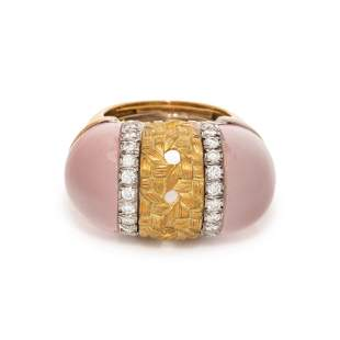 NICHOLAS VARNEY, ROSE QUARTZ AND DIAMOND RING
