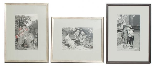 A Group of Three Woven Silk Pictures, Height of tallest