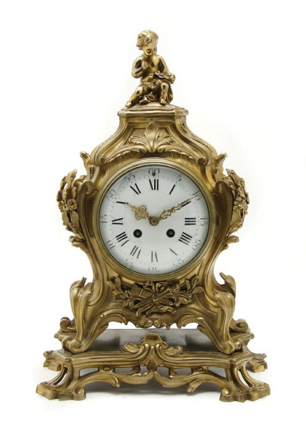 A Louis XV Style Gilt Bronze Mantle Clock, Height 16 in