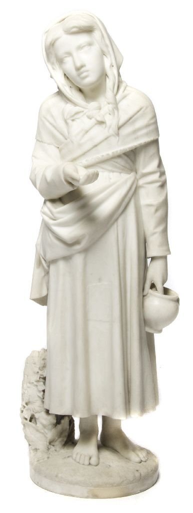 An Italian Alabaster Figure, The Orphan, Height 32 1/2