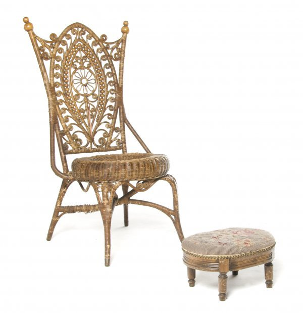 A Victorian Woven Chair, Height of first 39 inches.
