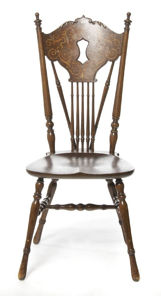 An Edwardian Inlaid Windsor Form Chair, Height 40 1/2 i