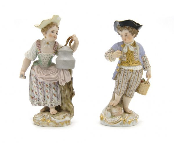 A Group of Two Meissen Porcelain Figures, Height of fir