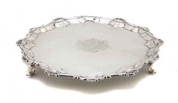 554: A George III Sterling Silver Salver, Diameter 9 in