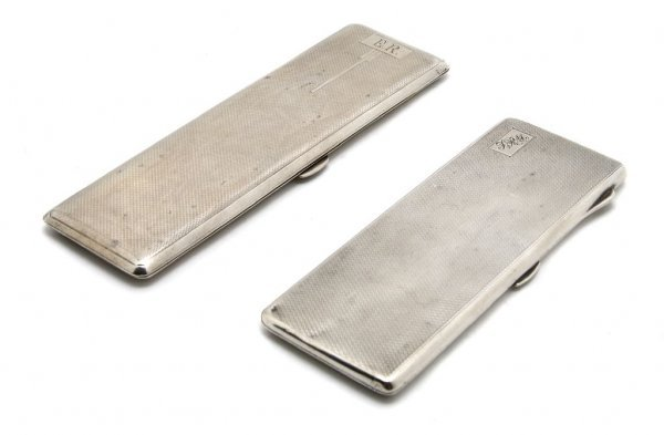 556: A Group of Two English Silver Cigarette Cases, Len