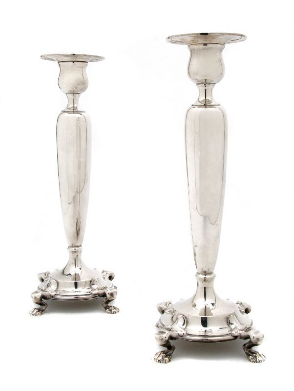 564: A Pair of American Sterling Silver Candlesticks, D