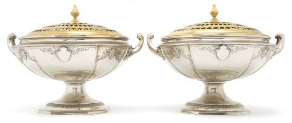 567: A Pair of Lidded Sterling Silver Potpourris, Frank