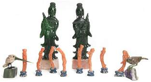 A Group of Chinese Hardstone Items, Height of tall