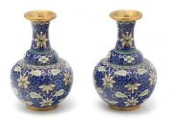 741: A Pair of Japanese Cloisonne Vases, Height 7 inche