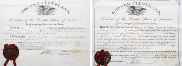 4: (CHICAGO) CLEVELAND, GROVER. A group of 2 Documents