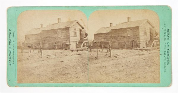8: (CHICAGO FIRE) O'LEARY HOUSE AND COW. Stereoview of