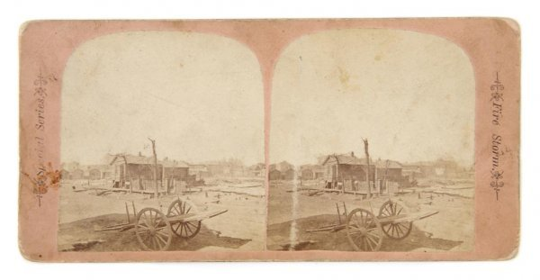 10: (CHICAGO FIRE) O'LEARY HOUSE. Stereoview of the ash