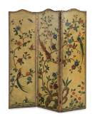 A Continental Painted Leather ThreePanel Floor Screen