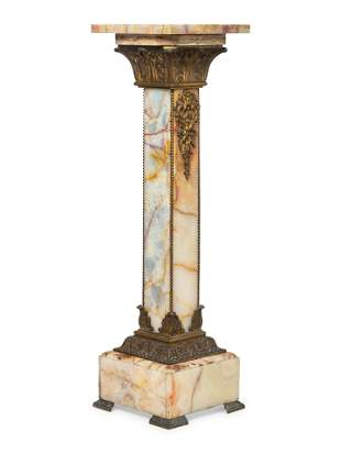A Neoclassical Gilt Bronze Mounted Onyx Pedestal