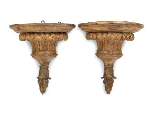 A Pair of Continental Giltwood Wall Brackets
