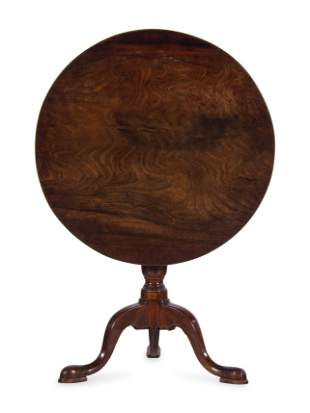 A George III Style Carved Mahogany Tilt-Top Tea