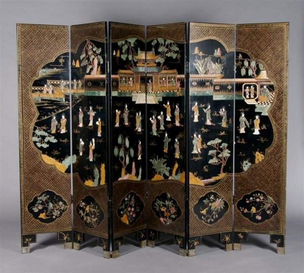 A Chinese Six Panel Lacquered and Parcel Gilt Floor Scr