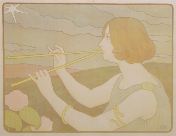 Paul Berthon, (French, 1872-1909), Les Pipeaux
