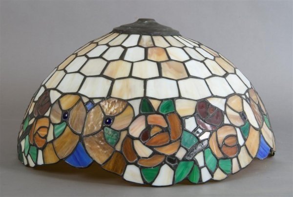 An American Leaded Glass and Jeweled Shade, Diameter 16