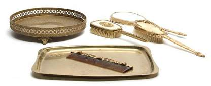 An Enamel Dressing Set Width of first tray 17 inches
