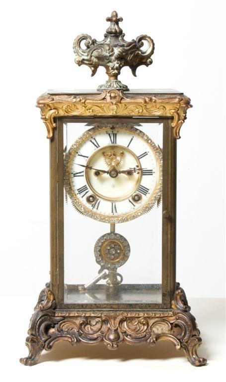 A Crystal Regulator Clock, Ansonia, Height 16 1/4 x wid