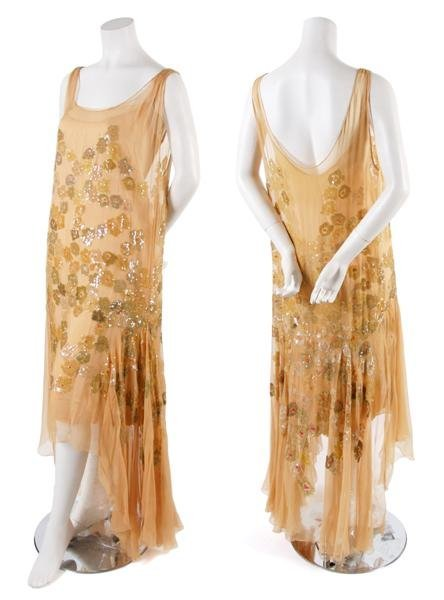 1: A French Couture Tan Chiffon and Sequined Evening Dr