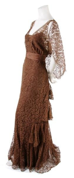 6: A French Couture Brown Lace Dress,
