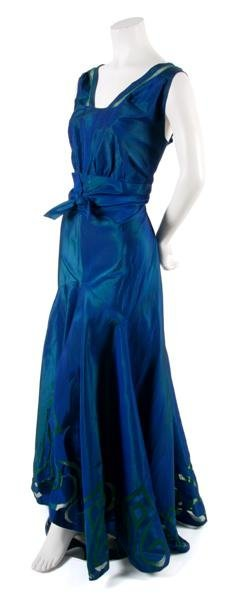 8: A French Couture Blue Silk Taffeta Dress,