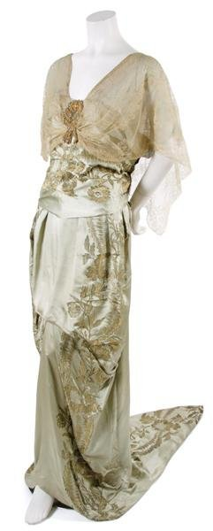 11: A French Couture Green Satin Brocade Evening Ensemb