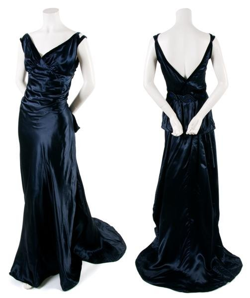 13: A French Couture Navy Blue Satin Evening Gown,