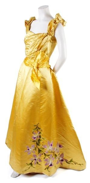 14: A French Couture Yellow Satin Evening Ensemble,