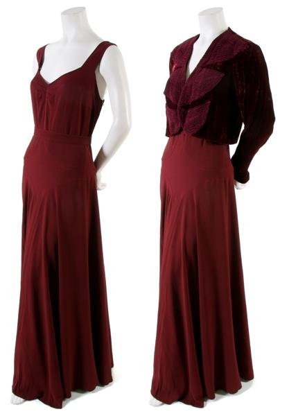 16: A Burgundy Silk Evening Ensemble,