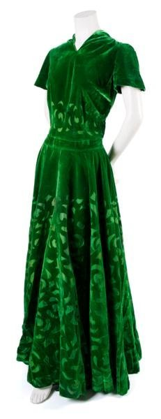 17: A French Couture Green Velvet Evening Gown,
