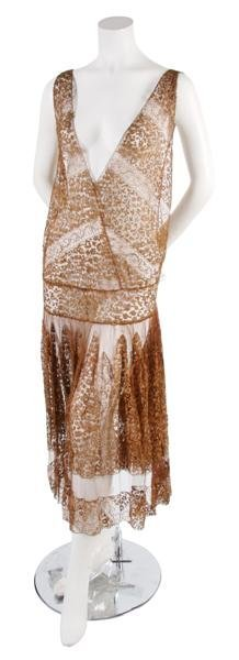 19: A French Couture Copper Lace Dress,