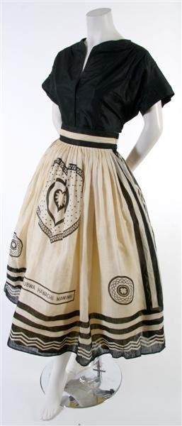 23: A Bermudian Black and White Printed Linen Skirt,
