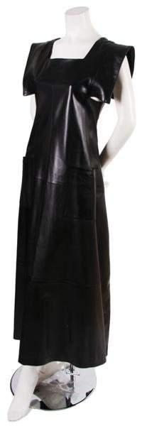 216: A Joan Vass Black Leather Apron Style Dress, Size