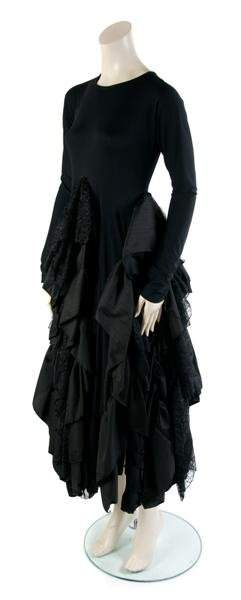 313: A Joan Vass Black Tiered Dress,
