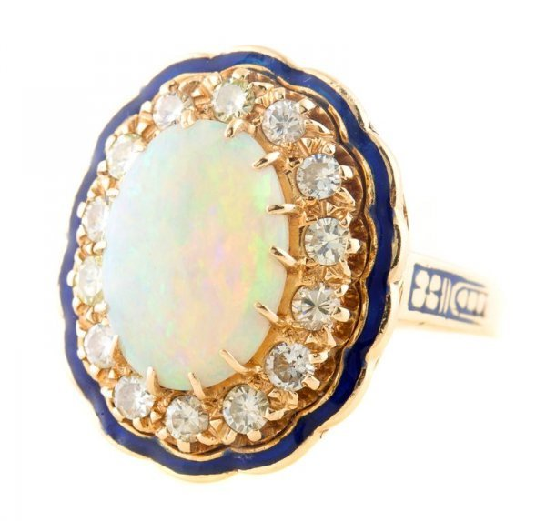 A 14 Karat Yellow Gold, Opal and Diamond Ring, 6.75 dwt